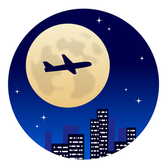Full Moon and Airplane