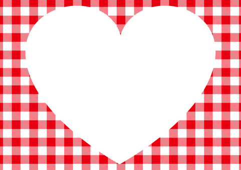 Heart frame to red gingham check