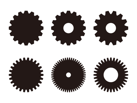 Gears monochrome illustration set
