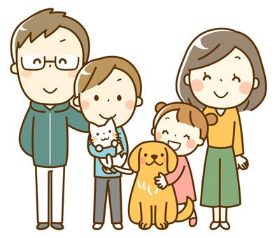 가족과 애완 동물 _4 명의 가족