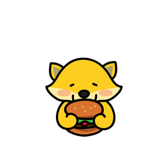 Animal eating hamburger (Kitsune)