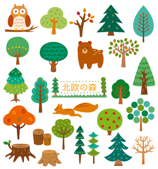 Scandinavian tree set 01