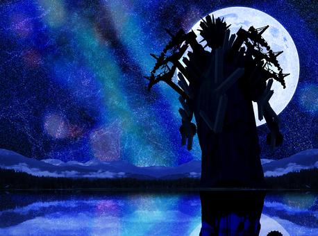 幻想的な月と星空と湖面に映る悪夢の怪物
