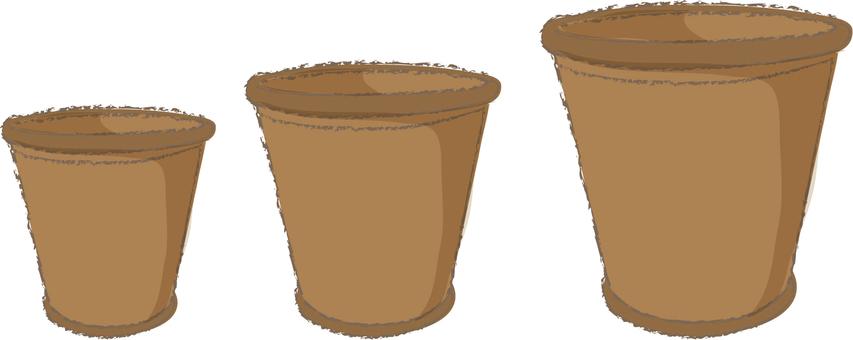 Small medium and large pot