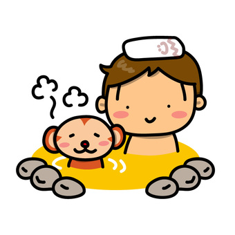 Illustration of a boy and a monkey stuck to an outdoor bath