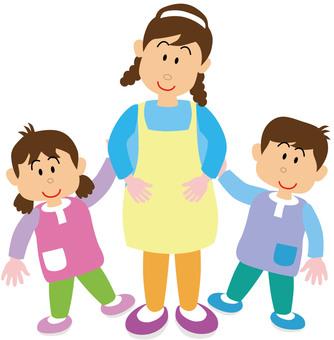 Nursery teacher and children 5