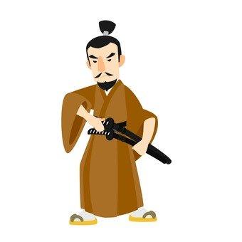 Samurai, whole body, brown