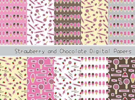 딸기 초코 스위트 패턴 소재 세트