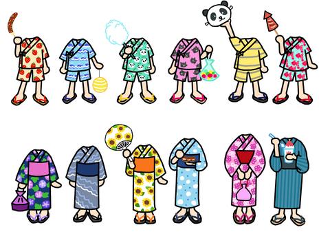 甚平の子 浴衣の子 着せ替え 3