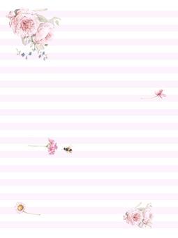 꽃 테두리 483- 핑크 편지지