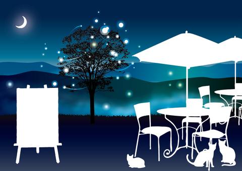 Open cafe card of Crescent Moon fireflies