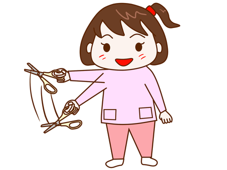 Children swinging scissors