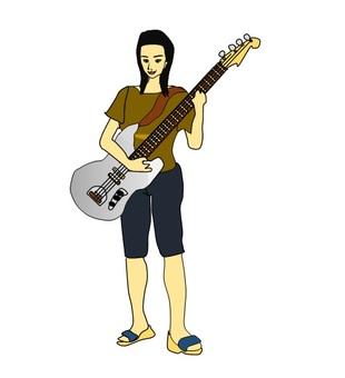 A woman playing a bass guitar part 2