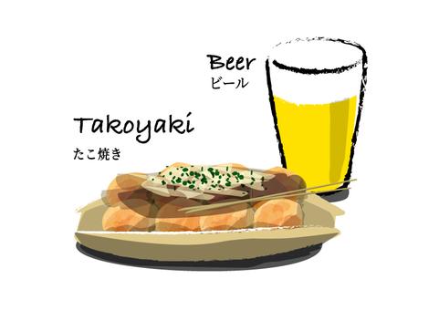 Takoyaki and beer brush style