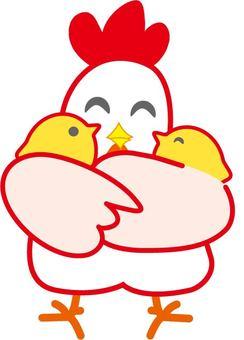 Chicken chick holding