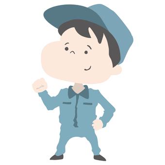 Boy in work clothes