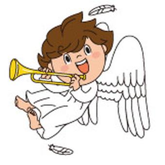 ラッパの天使1白