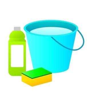 Bucket and detergent and sponge