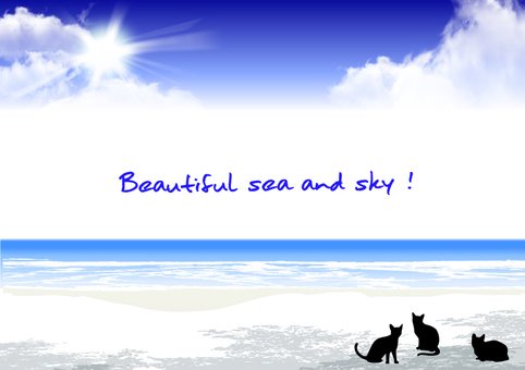 Beautiful sea and sky and cat Message card
