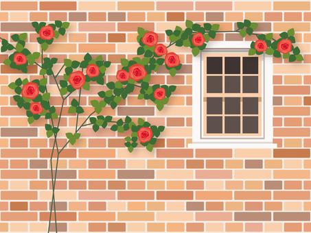 Background _ brick wall _ rose 1
