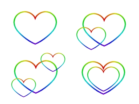 Heart rainbow color rainbow set