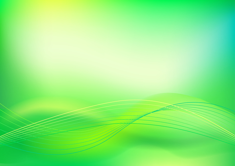 Green abstract wavy lines background material