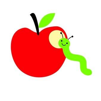 빨간 사과를 갉아 벌레