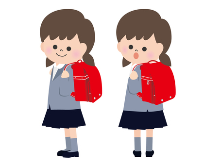 Character material <Girls of admission and school bags>