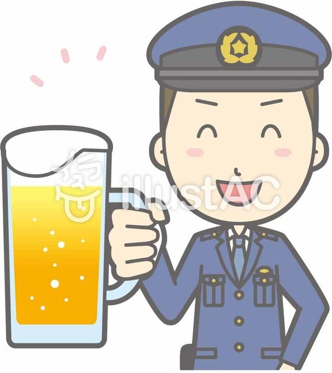 警察官男性a-ビール笑顔-バストのイラスト