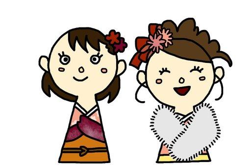 기모노 차림의 여자들