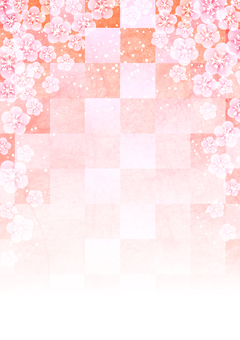 Watercolor style plum and checkered background