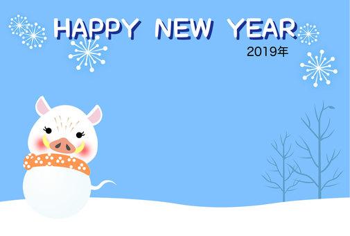 2019年亥年の年賀状「雪だるま亥」