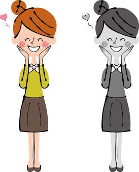 女性的整個身體,手中的笑臉歡喜的臉頰