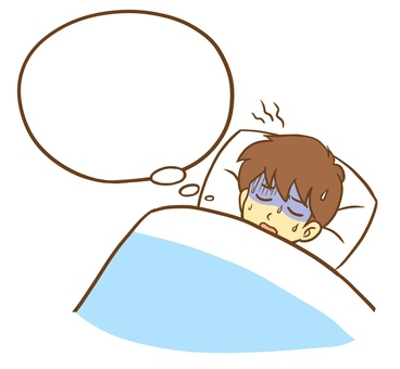 A man sleeping with a nightmare (speech balloon)