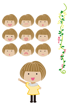 Flower ivy pattern and short bob girl expression