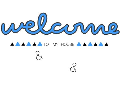 Welcome board pop blue