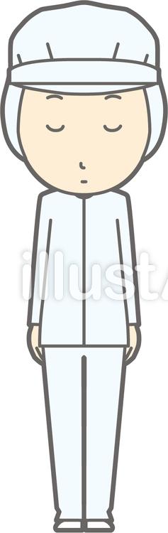 衛生服男-おじぎ無表情-全身のイラスト