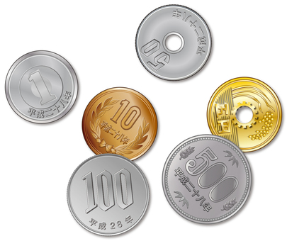 Graded coins 6 kinds scattered