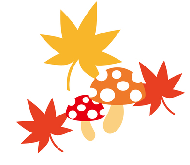 Mushroom and autumn leaves illustration
