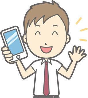 Men's High Summer a - With a smartphone - Bust