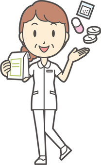Middle-aged woman nurse white coat-360-whole body