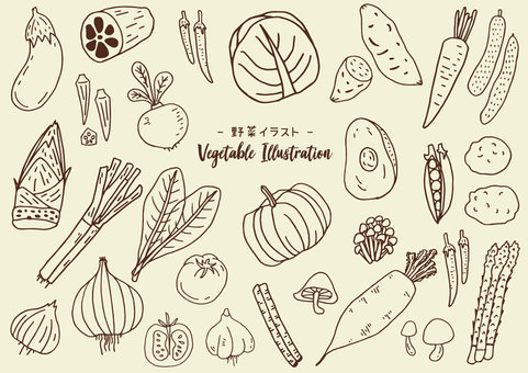 1 color vegetable illustration