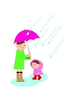 Parent and child in the rain