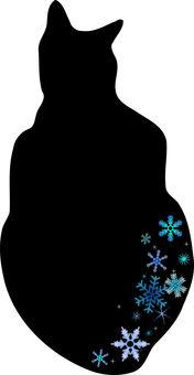 Nyanko silhouette and snowflakes