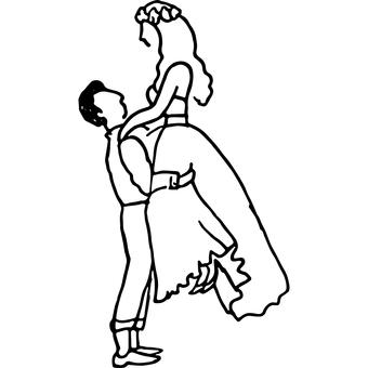 南国で結婚するカップルのベクターイラスト