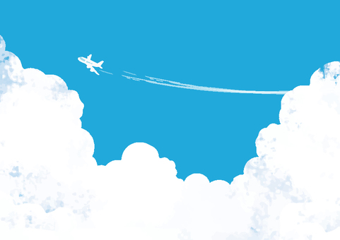Blue sky and airplane background wallpaper texture
