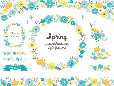 북유럽 풍의 꽃 프레임 (블루 계열)