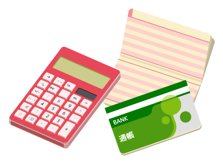 Calculator and passbook (red · pink · warm color