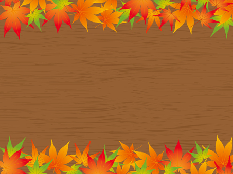 Background material of autumn leaves and wood grain