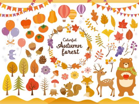 斯堪的納維亞風格秋天的森林插圖集